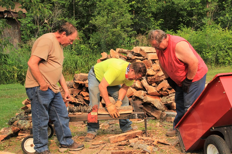 Friends splitting wood for the winter photo