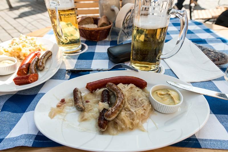Street Food Berlin Sauerkraut Bier HellesSenf photo