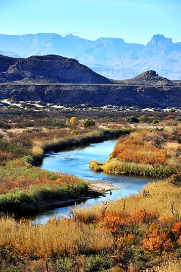A small river running throughout the wild in Big Bend Texas photo