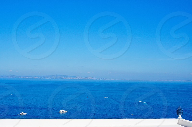 Naples bay and Vesuvius seen from Capri island  photo