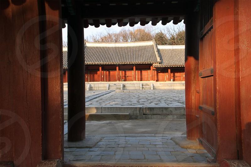 Jongmyo shrine -park in central Seoul South Korea. photo