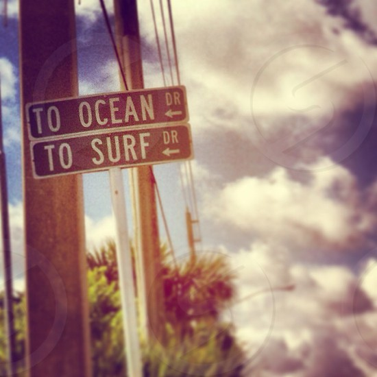 to ocean dr to surf dr sign photo