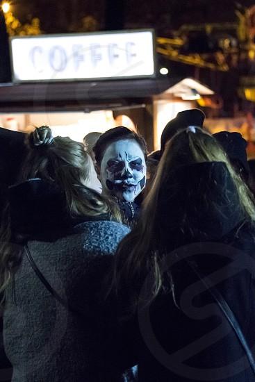 Street event at night Halloween celebration photo