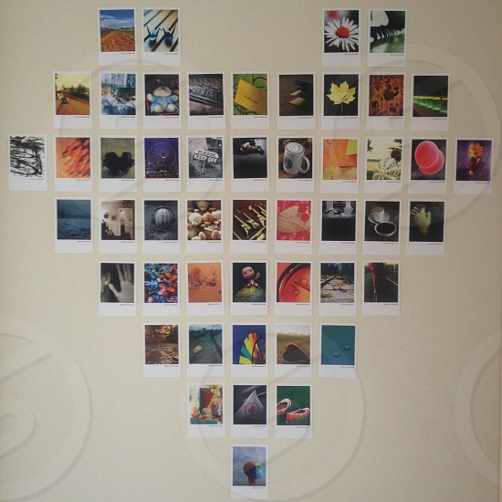 'Polaroid' wall in the shape of a heart photo