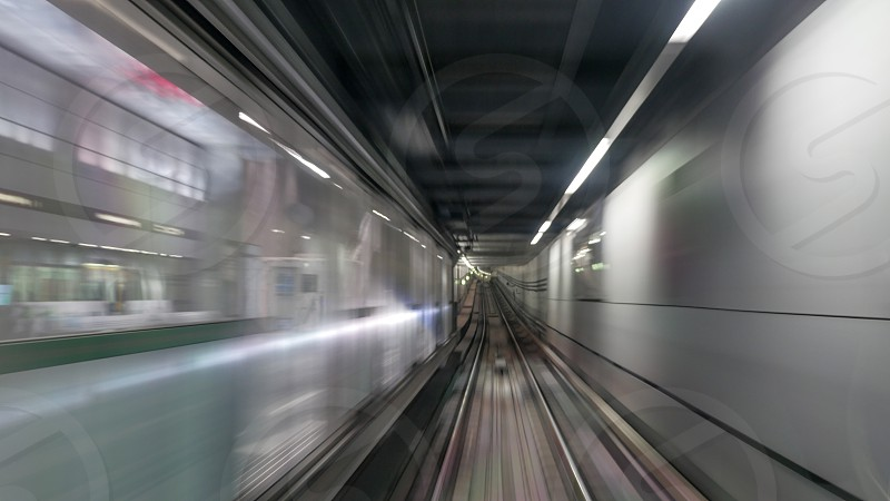 Vie on moving subway train in tunnel. Blur photo