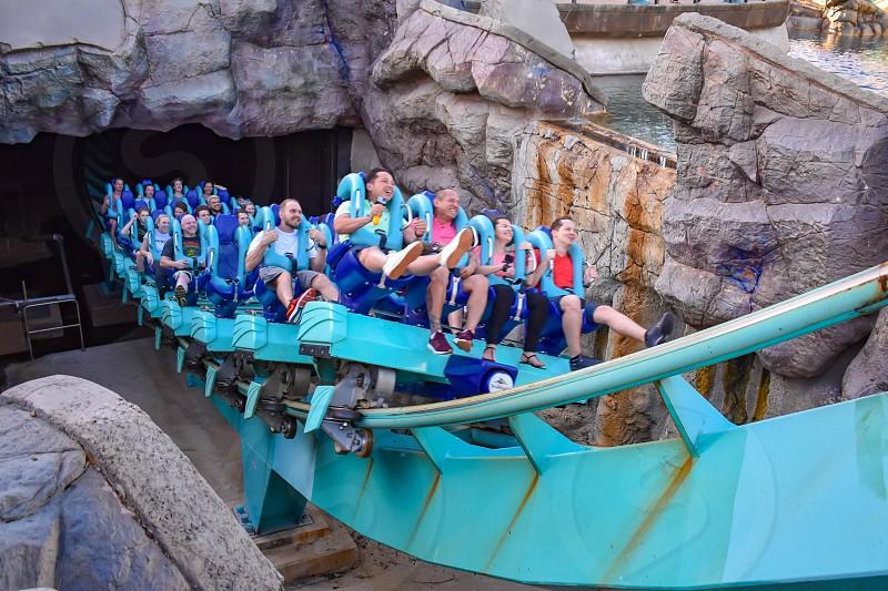 Orlando Florida . February 26  2019.  People enjoying terrific Kraken rollercoaster at Seaworld Theme Park (14) photo