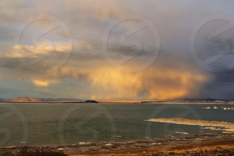 ocean view below cloud formation photo