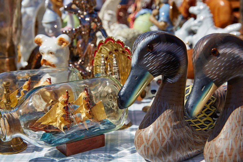 Antiques traditional market outdoor in Spain photo