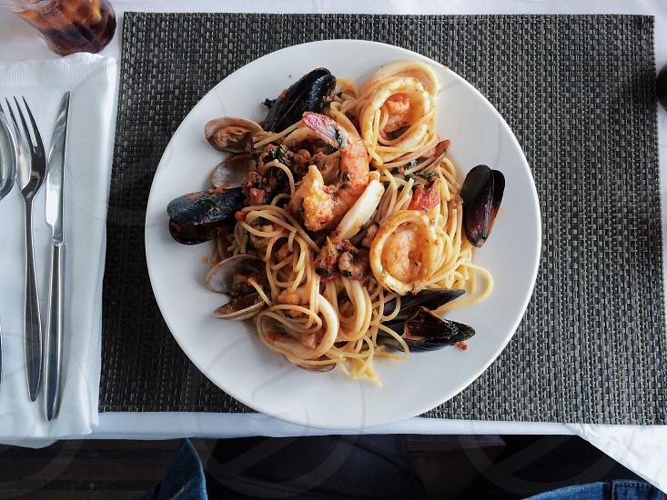 pasta and shrimp food photo