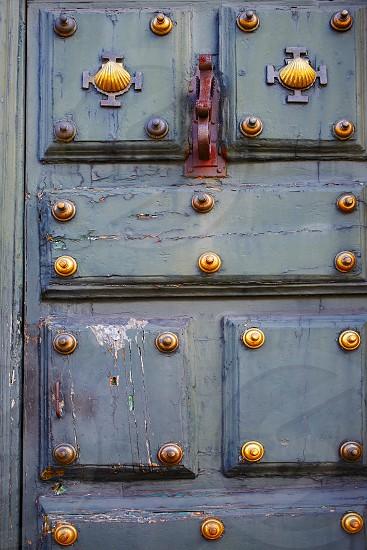 Santiago de Compostela end of Saint James Way door in Galicia Spain photo