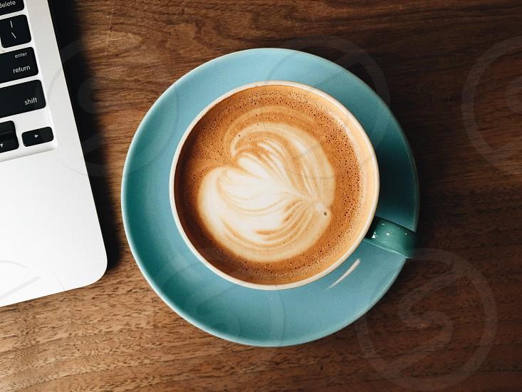 Latte coffee laptop photo