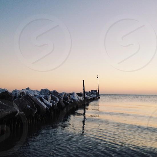 Frozen Chicago sunrise over Lake Michigan photo