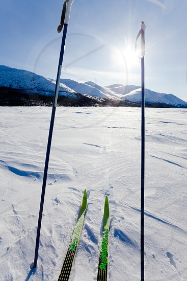 Cross country skiing skis and poles near ski track on frozen Fish Lake Yukon Territory Canada near Whitehorse perfect winter snow conditions with blue sky photo