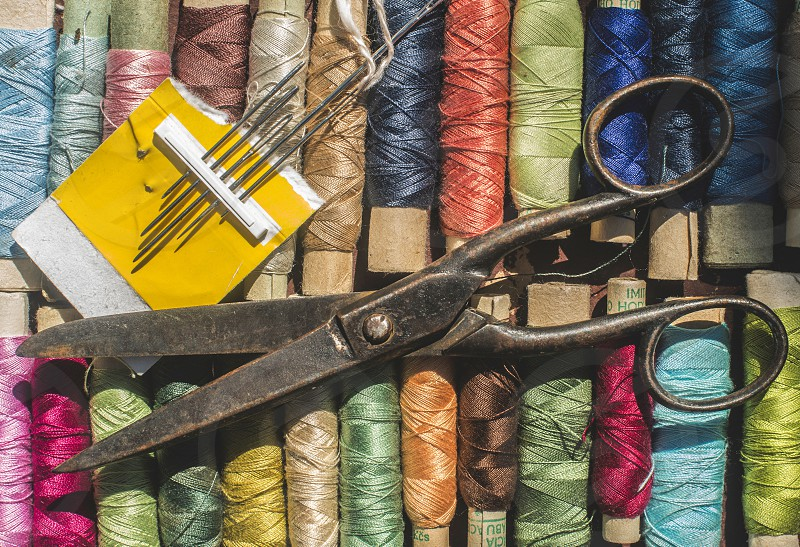 Vintage sewing thread and scissors. Bulgaria Plovdiv photo