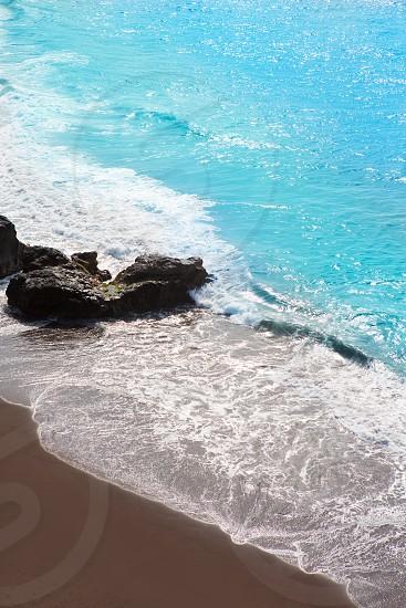 Beach el Bollullo black brown sand and aqua water near Puerto de la Cruz photo