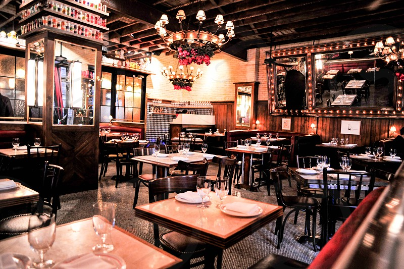 inside view of dirty french restaurant photo