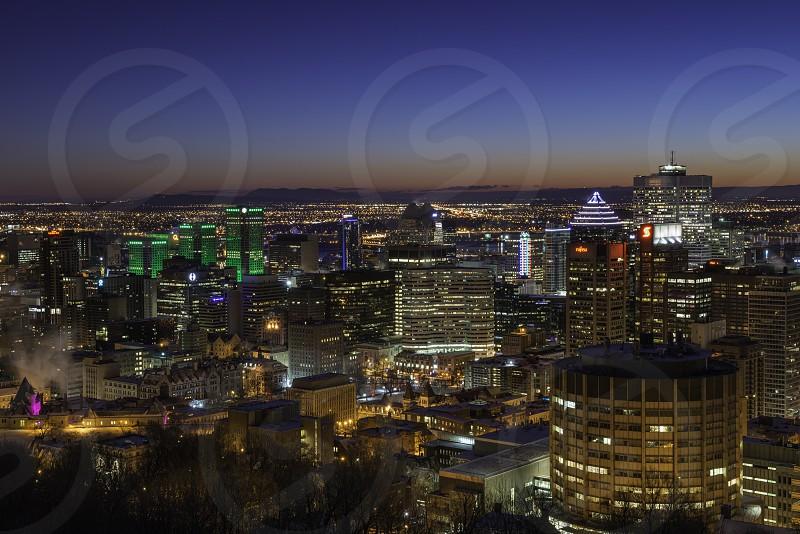 Montreal skyline at night photo