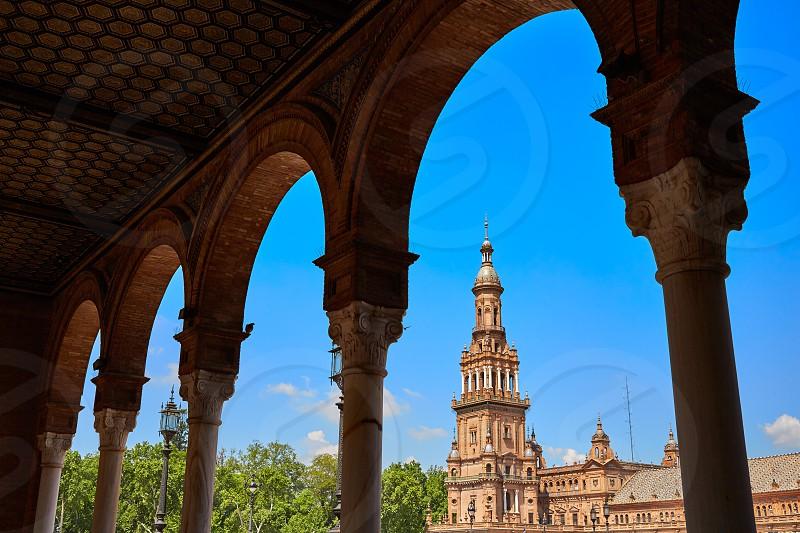 Seville Sevilla Plaza de Espana arcades Andalusia Spain square photo