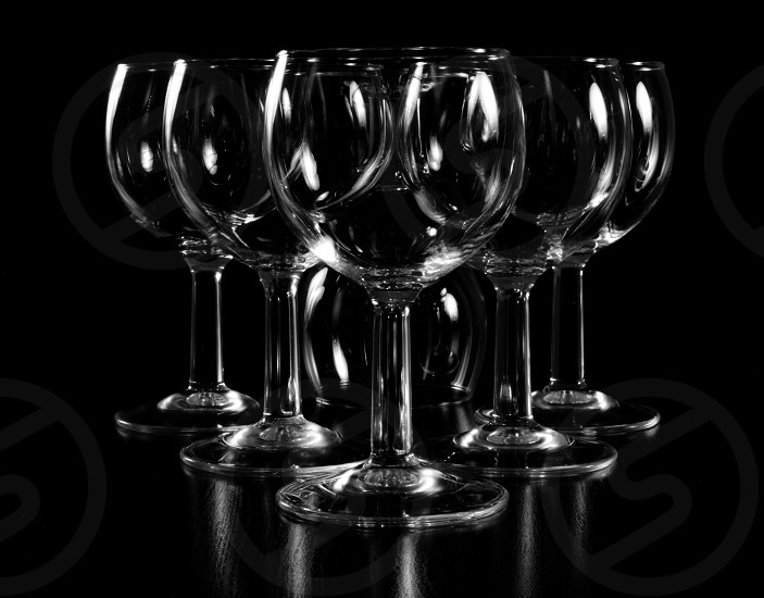 Wine glasses on a black background  photo