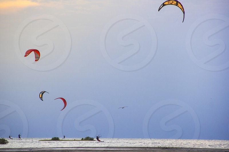 Kite surfing on South Padre Island Texas on the bay side. photo