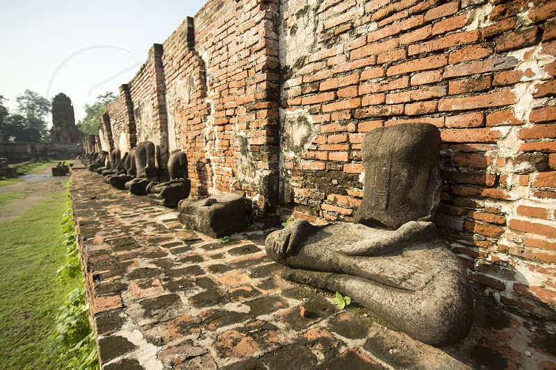 the Wat Phra Mahathat in the city of Ayutthaya north of bangkok in Thailand in southeastasia. photo