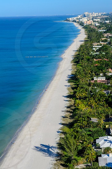 The coastline in Naples Florida.  Aerial photograph taken from a helicopter at 500 feet. photo
