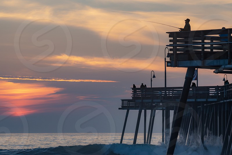 Pismo Beach CA California pacific coast ocean sunset pier fishing waves water silhouette photo