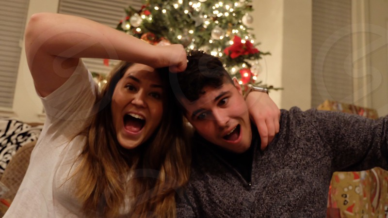 Goofy candid siblings  photo