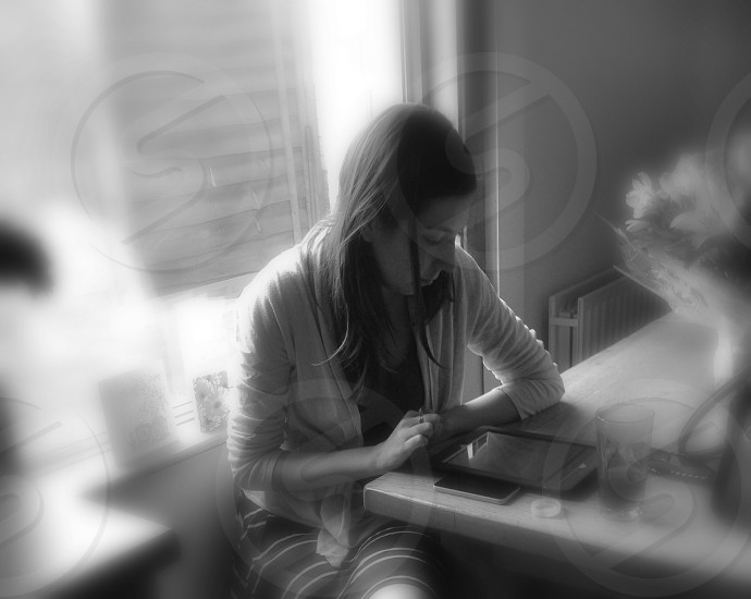 Female student studying research web internet masters degree photo