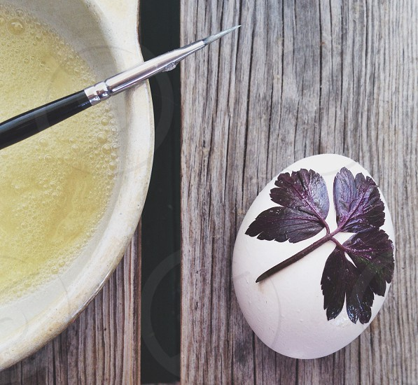 white egg with purple leaf painting photo