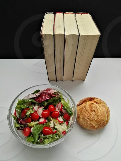 healthy salad on office table photo