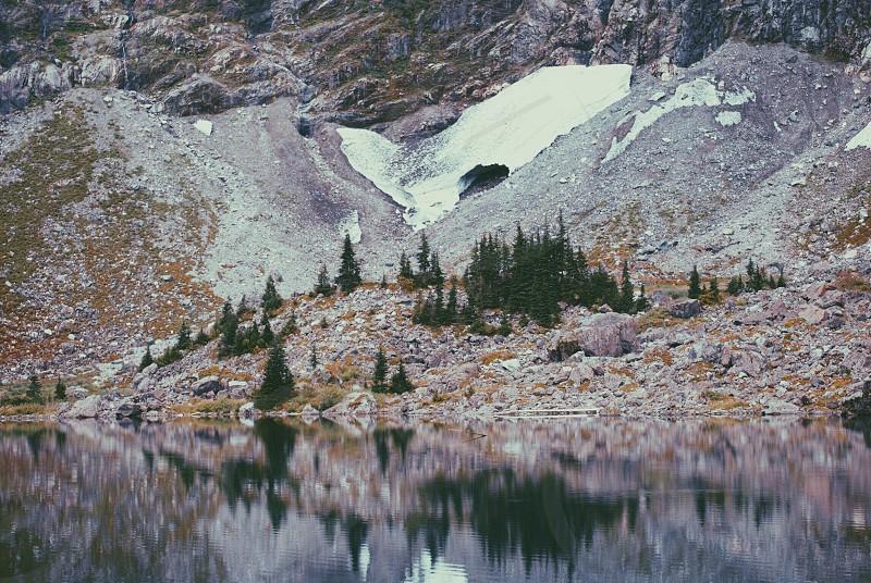 lake and gray hills photo