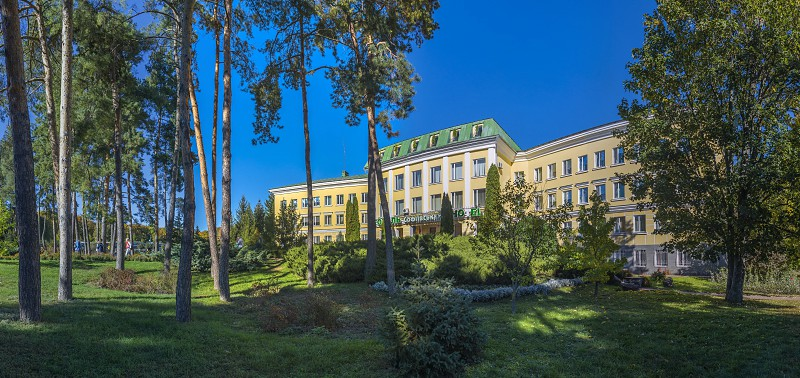 Uman Ukraine - 10.13.2018. Hotel in Sofiyivka park in the city of Uman Ukraine photo