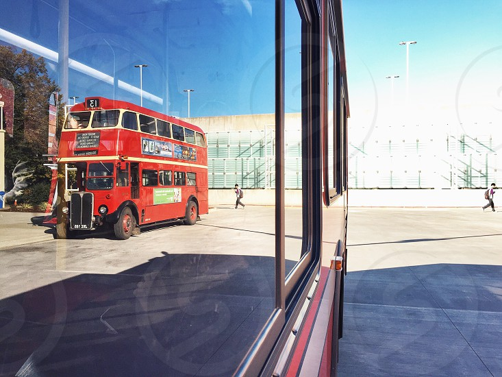 red double decker bus photo