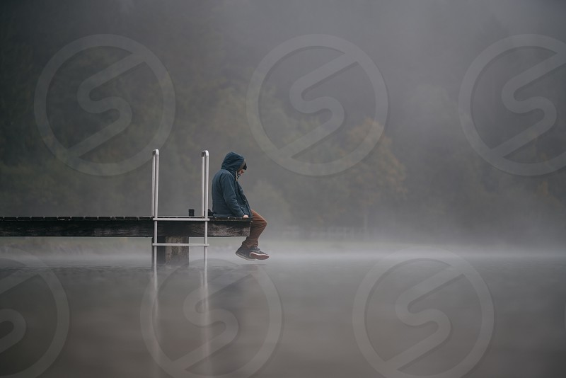 Fog lake morning moody photo