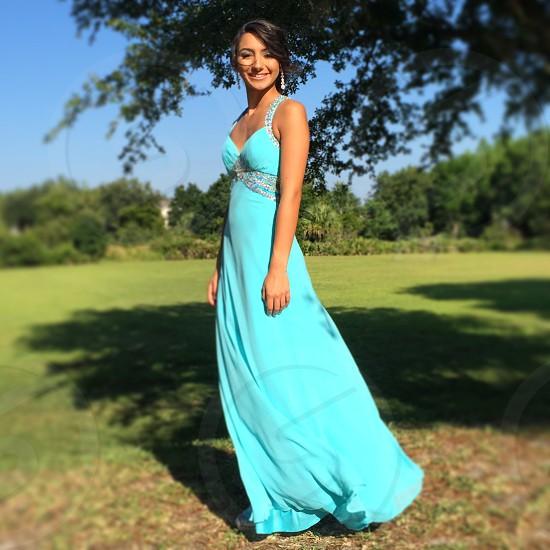 dress blue aqua woman girl prom wind photo