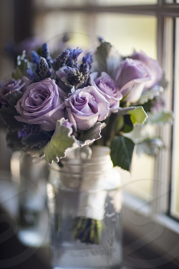A bouquet of light purple roses and lavender sits next to a window. flowers rose roses bouquet lavender bouquet soft window light natural pastel purple photo