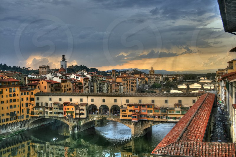 Old walkable bridge in Florence Italy photo