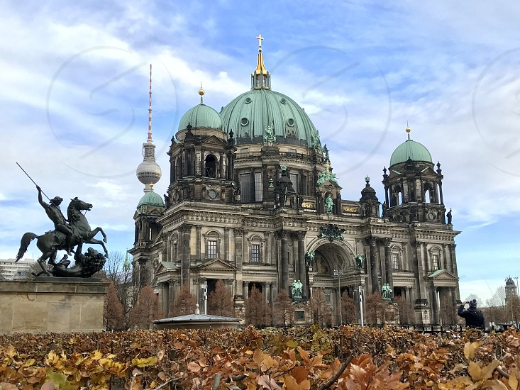 Berlin Germany Alexanderplatz Cathedral tower city autumn  sunshine  shrub cold tree  architecture religious building building photo