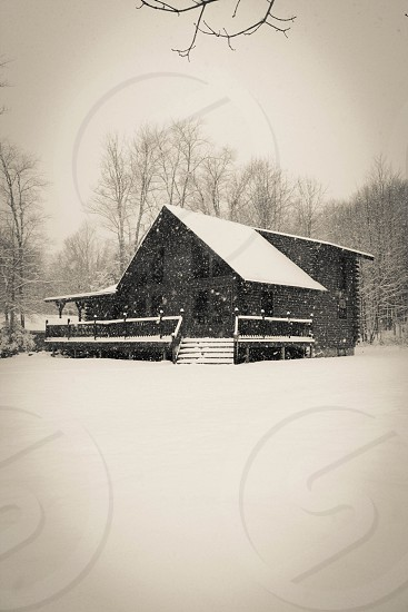 snow covered house and ground photo