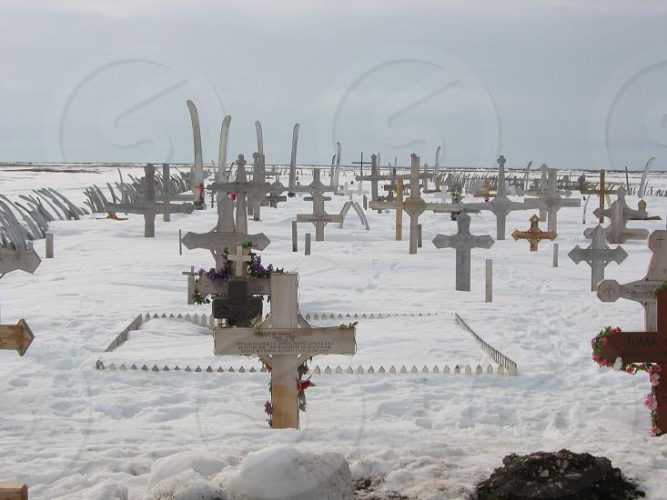 Native cemetery Eskimo Alaska Arctic Point Hope Alaska photo