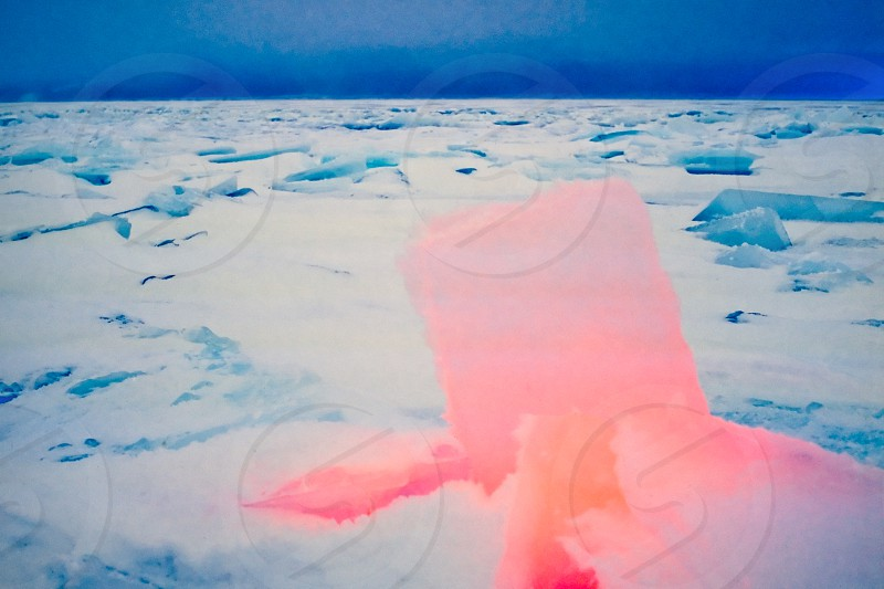 Frozen shore with ice-floes illuminated red photo