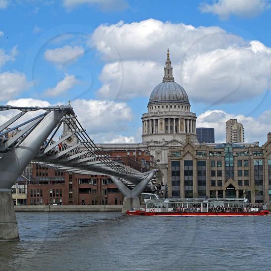 London St pauls cathedral millennium bridge thames riverboat water landmark photo