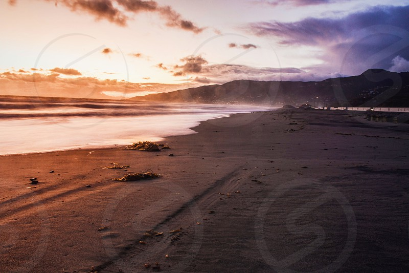 beach sunset sunrise warmcool ocean sand happy mountains pretty nature photo