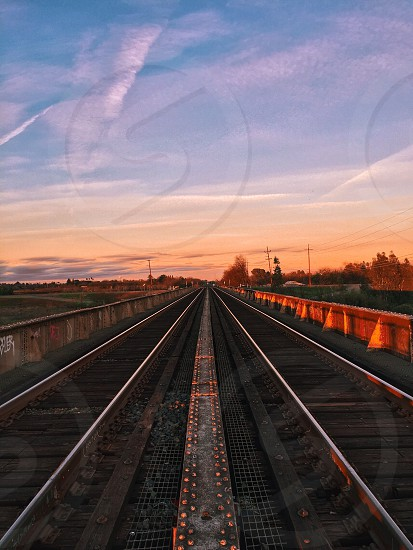 parallel railways between metal railings under blue sky and cirrus clouds photo