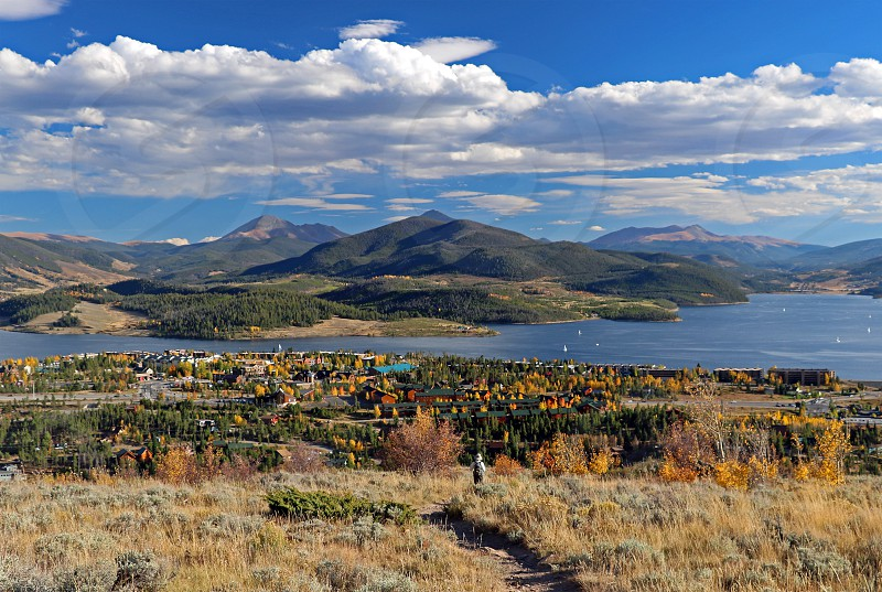 The town of Dillon Colorado sits alongside Lake Dillon a huge reservoir in the heart of Summit County. photo