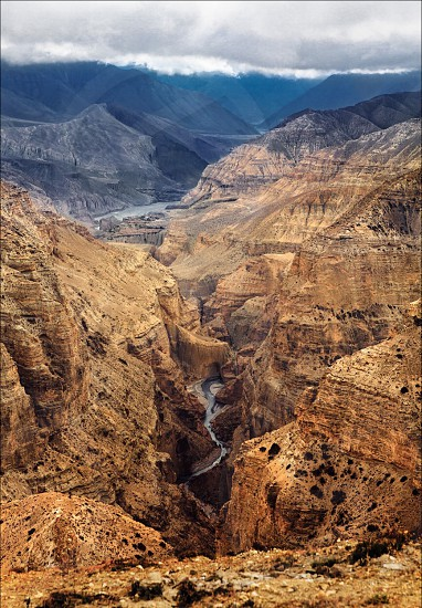 Mustang himalayas hills travel nepal mountains track river sky photo