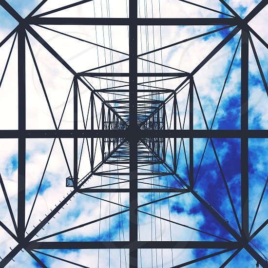 Lines power sky clouds blue architecture photo