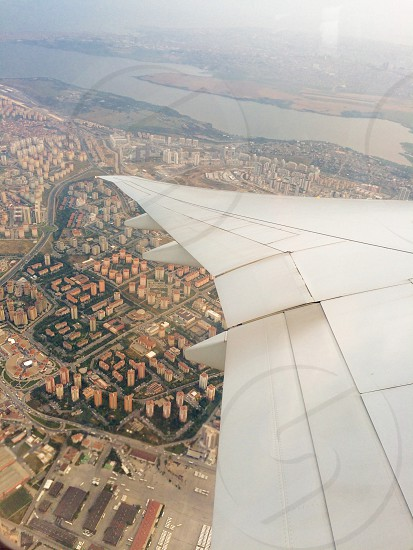 Airplane land wing  photo