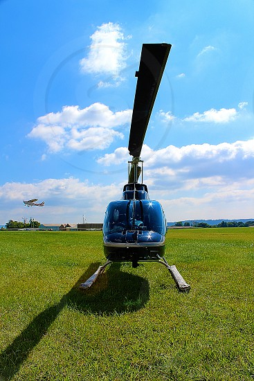 Helicopter view of airport. photo